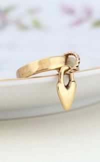 Gold Hammered Love Ring