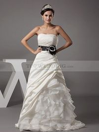 STRAPLESS A LINE SATIN WEDDING GOWN WITH ORGANZA RUFFLE SKIRT