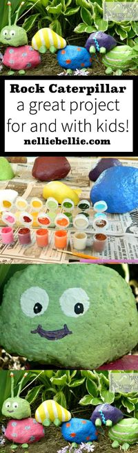 A great project to do with kids! Make a caterpillar from painted rocks! ~nelliebellie.com #kidscrafts #caterpillar #outdoor