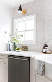 "Our New Modern English Country Kitchen (""We went with the subway tile idea, but used a 2�—6 handmade tile in a light gray instead of the simpler white version. It is from Cle tile"")"