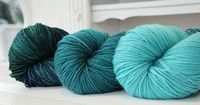 Left to right, Shalimar Yarns Breathless in Asilomar, Corfu, and Sea Glass