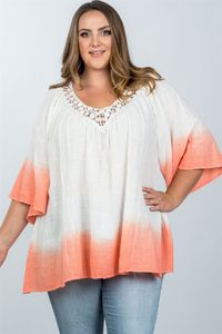 20% discount with BESTDEAL at checkout! Ladies fashion plus size boho lace crochet neck ombre top $21.00