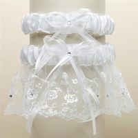 A Vintage White Ivory or Blue White Embroidered Lace Two Piece Wedding Garter Set $37.00