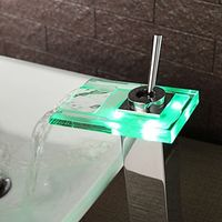 Modern Color Changing LED Waterfall Bathroom Sink Faucet