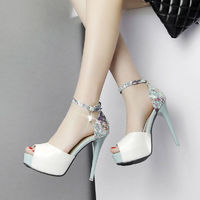 Sexy Flowers Women Pumps Shoes 2017 High Heels Summer Sandals Shoes Woman Summer Fashion Women Shoes