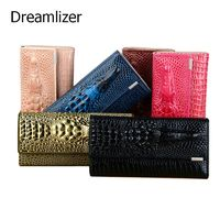 3 Fold Genuine Leather Women Alligator Wallet 13 Color Hasp Crocodile Head R240.00