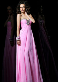 2014 Pink Beaded Long Chiffon Prom Dresses