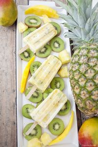 Mango Kiwi Pineapple Protein Pops, a great afternoon snack, packed with greek yogurt protein.