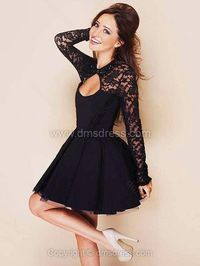 A-line Jewel Chiffon Lace Short/Mini Beading Party Dresses