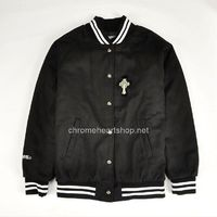 Chrome Hearts Black Leather Horseshoes and Windmill Black Men's Jackets