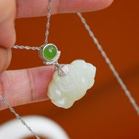 necklace 925 - Lotus necklace - necklace jade - necklace pendant - necklace women