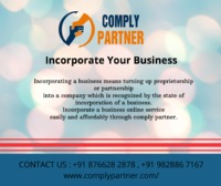 Incorporating a business means turning up proprietorship or partnership into a company which is recognized by the state of incorporation of a business. Incorporate a business online service easily and affordably through comply partner. With incorporation,...