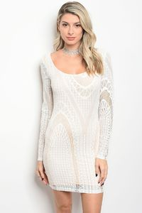 Ladies fashion scoop neck lace bodycon dress with sexy back detail $29.99