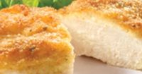 parmesean crusted chicken 1/2 cup Hellmann's® or Best Foods® Real Mayonnaise 1/4 cup grated Parmesan cheese 4 boneless, skinless chicken breast halves (about 1-1/4 lbs.) 4 tsp. Italian seasoned dry bread crumbs
