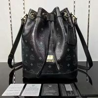 MCM Small Heritage Visetos Drawstring Bag In Black