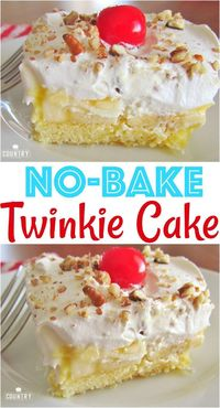 No-Bake Twinkie Cake recipe from The Country Cook