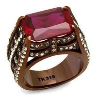 TK2779 IP Coffee light Stainless Steel Ring with synthetic garnet