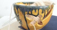 Yarn Bowl Yellow bee crochet bowl bees Graduation gift by BlueRoomPottery | BlueRoomPottery... plus (+)