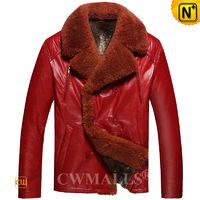 Patented Mens Shearling Leather Jacket Red CW890103 | CWMALLS.COM