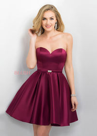 Simple Sangria Strapless Sweetheart A Line Beaded Waist Prom Dress