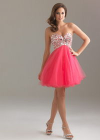 Night Moves 6410 Coral Short Rhinestone Top Tulle Prom Dress