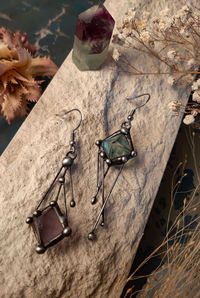 Two Square Fluorite Earrings, Minimalist Dangle Earrings, With Stainless Steel Hooks - Hypoallergenic! $31.00