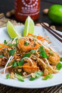 Shrimp Pad Thai served on spaghetti squash 'noodles' instead or rice noodles.
