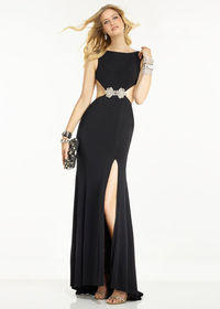 Unique Black Jersey Beaded Applique Waist Side Cutout Prom Dress