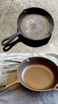 Cast iron requires little care and cleans up with almost no effort when it's properly seasoned. Old cast iron periodically requires reseasoning to restore its n