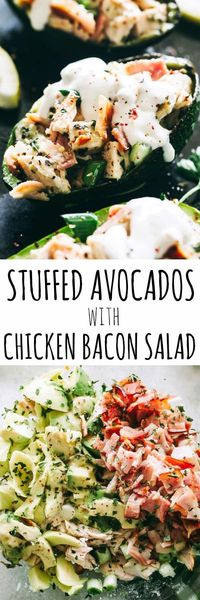 """Stuffed Avocados with Chicken Bacon Salad �€"""" Quick and healthy stuffed avocados loaded with a delicious chicken, avocado, and bacon salad tossed in a refreshing lemon dressing. Low carb, gluten free, keto and paleo approved! #chickensalad #stu..."""