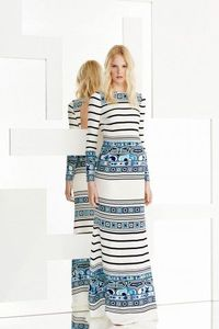 Emilio Pucci Printed Lines Long Sleeve Maxi Dress Blue White