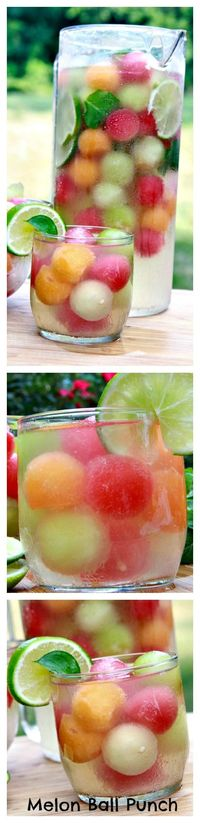 Refreshing Melon Ball Punch by ifoodtv: Summertime! #Punch #Melon Ball #Healthy #Light