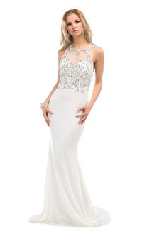 Long White Sparkly CD-1106 Discounted Prom Gowns Sale