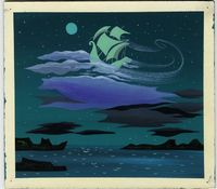 Mary Blair, Concept of Captain Hook's ship flying in the night sky, ca. 1953, gouache, 7.38 x 8.25 in (18.73 x 20.96 cm); Courtesy of Ron and Diane Miller