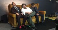 #Richard, Peter, and Martin taking a much needed power-nap between interviews on the whirlwind press junket for The Hobbit: The Battle of the Five Armies