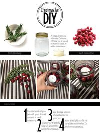 Thispostwas discovered by Christina Manahan. Discover (and save!) your own Pins on Pinterest. | See more about christmas jars, cranberries and diy.