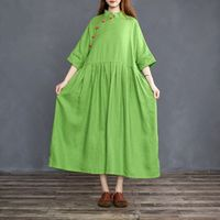 Trendy plus size clothing, Green linen 3/4 sleeve dress, Flare Dress, cocktail Dress, Party dress, Maxi dress, Women Dress, Summer dress