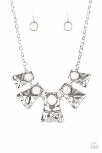 Paparazzi Cougar - Hammered Flared Silver Frame White Stone Bead Necklace $5.00