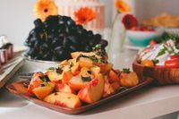 """Nectarines with Basil and Lemon 4 �€"""" 5 ripe nectarines or peaches 1 1/2 tablespoons olive oil 1/2 teaspoon lemon zest squeeze of fresh lemon juice 2 tablespoons chopped, fresh basil and tarragon"""