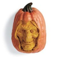 Witch Pumpkin I think to make this one you need to find a witch mask at a costume store, then paint it 'pumpkin color'. find a suitable pumpkin to cut out, and put it inside. You could use the face year after year. Or, just fit it into a fake pump...