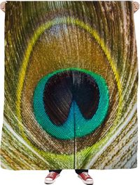 Peacock Feather Fleece Blanket $65.00
