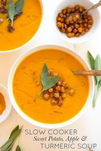 Slow Cooker Sweet Potato, Apple & Turmeric Soup is a simple chop and drop recipe that yields creamy, nourishing results. It's a hit with the entire family, plus