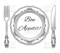 Bon appetit inscription - plate, fork and knife vector image