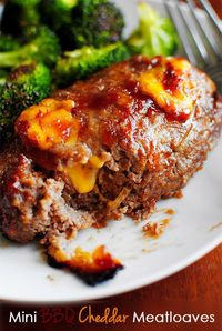 Mini BBQ Cheddar Meatloaves are studded with melty cheddar cheese and sweet BBQ sauce. This easy, gluten-free dinner is a hit with the whole family!