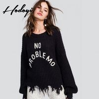 Oversized Vogue Simple Solid Color Embroidery Scoop Neck Alphabet Fall 9/10 Sleeves Sweater - Bonny YZOZO Boutique Store