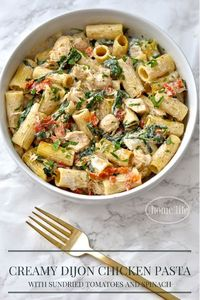 This creamy dijon chicken pasta with sun dried tomatoes and spinach is the perfect meal any night of the week! The other day when I made the Creamy Dijon Chicke