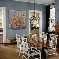 this would be a great paint color for the dining room but they don't say what it is, sigh. would match my china and chair seats and is very soothing. Decorate with Blue | Complement with Blue | SouthernLiving.com