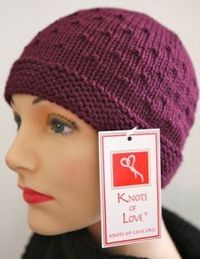 I love the texture on this hat, called the Occasional Cap. This is a free pattern from Knots of Love, a charity that distributes hat for patients undergoing chemotherapy and facing life-threatening illnesses. knotsoflove.org . One of their recommended yar...