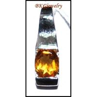 Genuine Citrine Gemstone Solitaire Pendant 18K White Gold [P0132]
