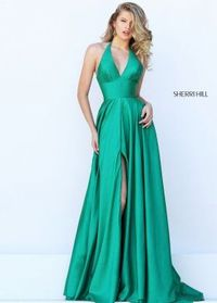 2016 Sherri Hill 50403 Simple Sating A-Line Evening Gown